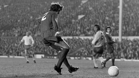 Liverpool's Chris Lawler scores in the 1972 League Cup.