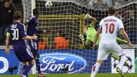 Zlatan Ibrahimovic watches his thunderbolt effort fly into the back of the net.