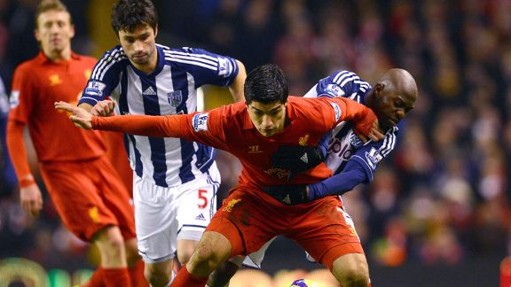 Luis Suarez West Brom battle