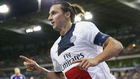 Zlatan Ibrahimovic celebrates one of his four goals against Anderlecht on Wednesday.