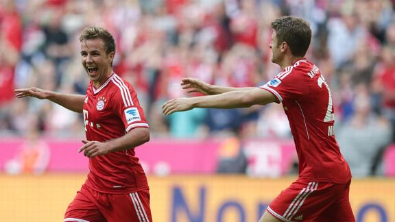 Mario Goetze celebrates after netting Bayern's third goal.