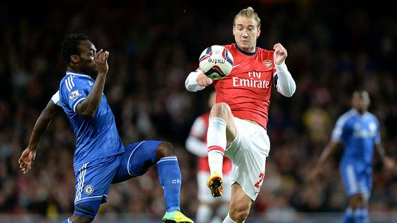 Nicklas Bendtner Michael Essien battle