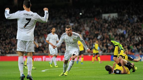 Gareth Bale tears away after scoring the opening goal for Real Madrid.