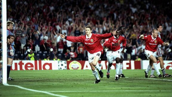 Ole Gunnar Solskjaer Treble celebration v Bayern Munich