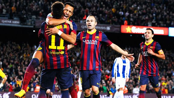 Barcelona took the lead against Espanyol when Neymar expertly set up Alexis.