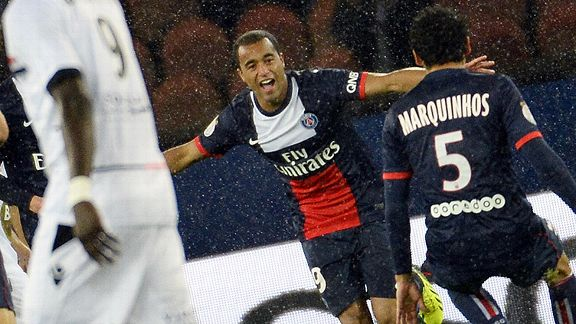 Lucas Moura shone in the rain as PSG slipped by Lorient.