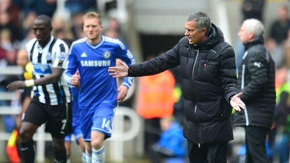 Jose Mourinho anger touchline Newcastle Chelsea