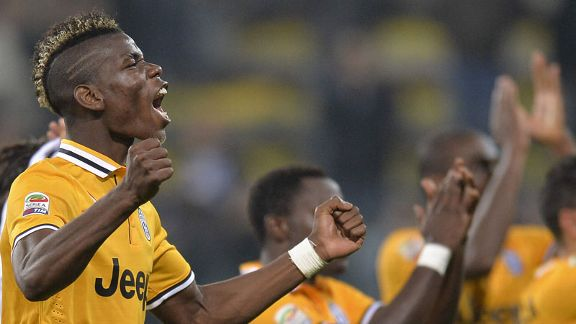 Paul Pogba celebrates following Juventus' win against Parma in Serie A.