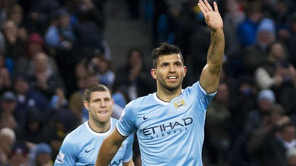 Sergio Aguero celebrates one of Manchester City's seven goals against Norwich