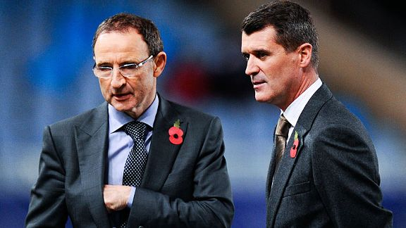 Martin O'Neill and Roy Keane chat on the pitch before pudit duty on Man United's game at Real Sociedad.
