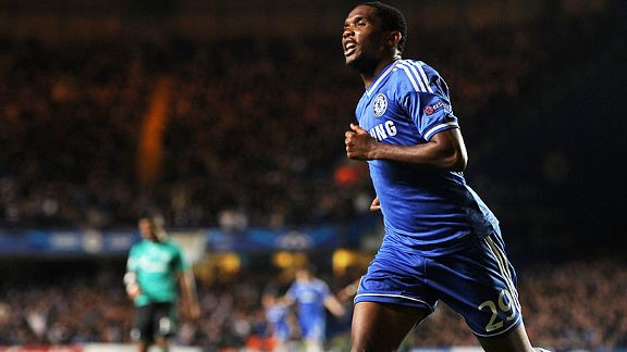Samuel Etoo celebrates his second for Chelsea against Schalke, finishing off a slick move.
