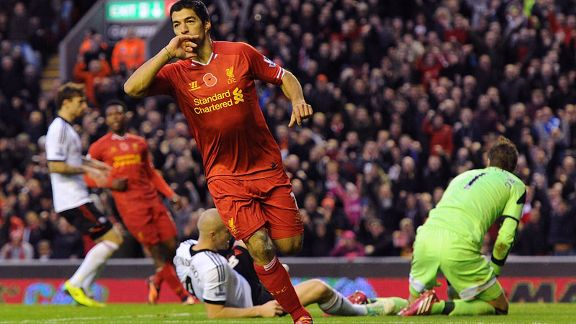 Luis Suarez second goal celeb Liverpool vs Fulham