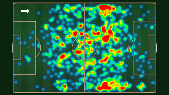 Michael Carrick's passing heat map for this Premier League season.