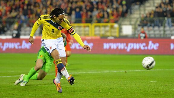Radamel Falcao scores against Belgium.