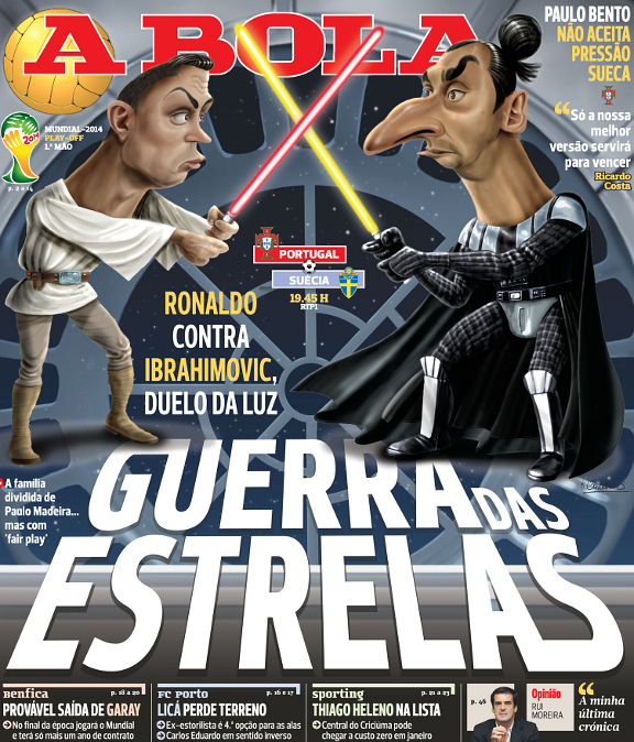 A Bola's brilliant 'Ronaldo vs Zlatan lightsaber duel' cover