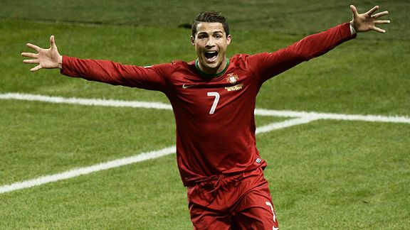 Cristiano Ronaldo celebrates after completing his hat-trick to send Portugal to Brazil.