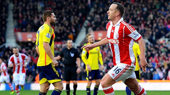 Charlie Adam celebrates after giving Stoke the lead against Sunderland.