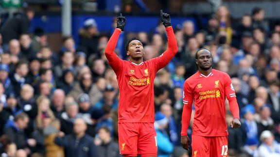 Daniel Sturridge celeb point to sky Everton Liverpool