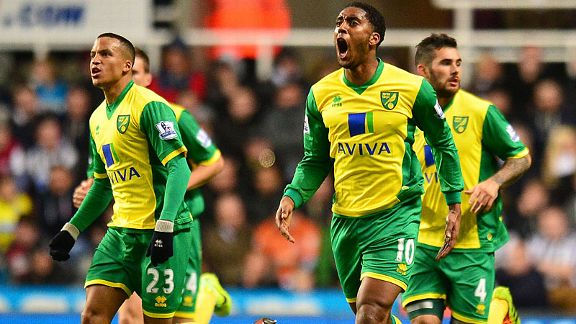 Norwich celebrate after Leroy Fer halved the deficit at Newcastle.