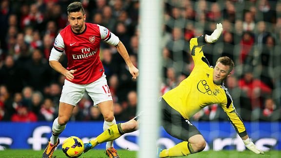 Olivier Giroud robs Artur Boruc to score for Arsenal against Southampton.
