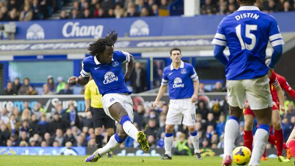 Romelu Lukaku first goal Everton Liverpool