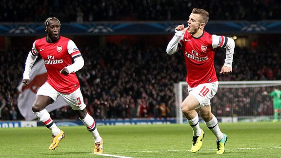 Jack Wilshere gave Arsenal the lead against Marseille after just 29 seconds.
