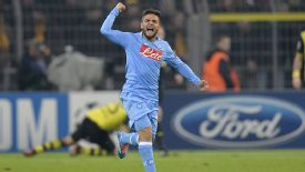 Lorenzo Insigne celebrates his goal for Napoli at Borussia Dortmund.