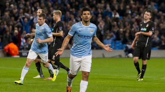 Sergio Aguero celebrates his goal for Man City against Viktoria Plzen.