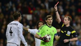 Sergio Ramos is shown a red card during Real Madrid's Champions League game against Galatasaray.