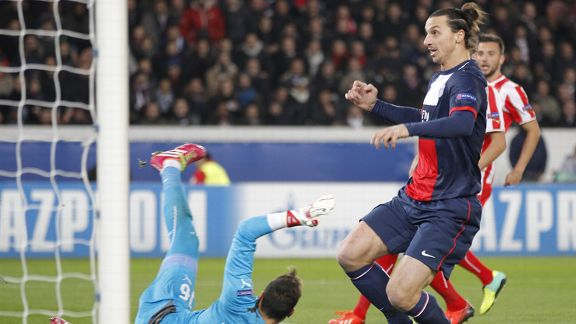 Zlatan Ibrahimovic opened the scoring for Paris Saint-Germain against Olympiakos.