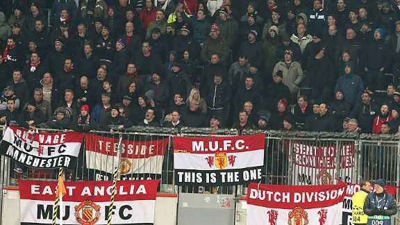 Man United fans pack in at the BayArena to see their team face Leverkusen