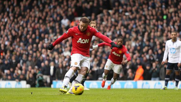 Wayne Rooney scores from the spot for Man United against Tottenham.