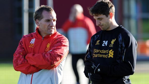 Joe Allen and Brendan Rodgers Liverpool