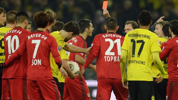 Leverkusen's Emir Spahic is sent off in a heated second half against Dortmund.