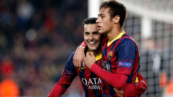 Pedro and Neymar celebrate a goal during Barcelona's win against Celtic.