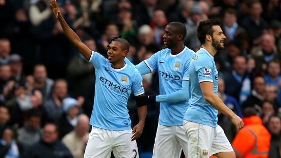 Fernandinho celebrates his goal against Arsenal.