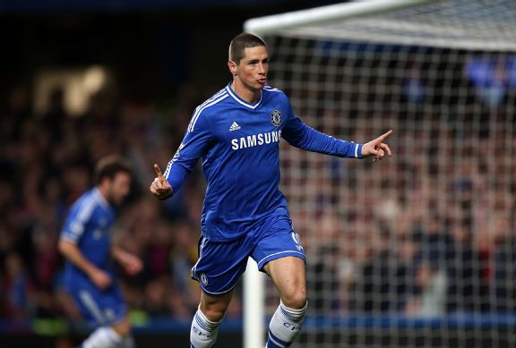Fernando Torres celebrates his goal against Crystal Palace.