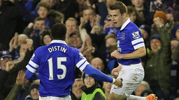 Seamus Coleman celebrates his goal for Everton against Fulham.