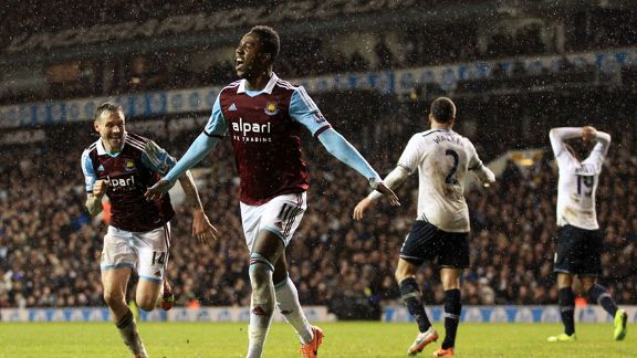 Modibo Maiga celebrates his goal for West Ham at Tottenham.