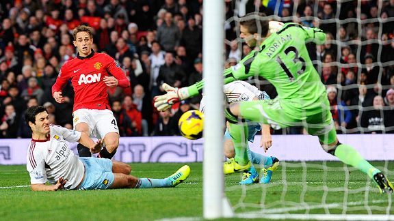 Adnan Januzaj doubles Man United's lead against West Ham.