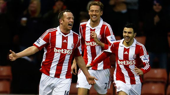 Stoke celebrate after Charlie Adam put them in front at home to Aston Villa.