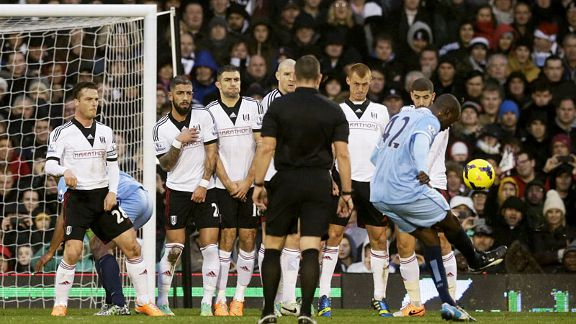 Yaya Toure scores another free kick to put Man City in front at Fulham.