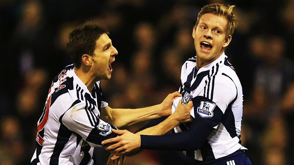 Matej Vydra is grabbed by Zoltan Gera after scoring West Brom's late leveller against Hull.