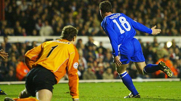 Jens Lehmann can only look on in horror after Wayne Bridge's goal.
