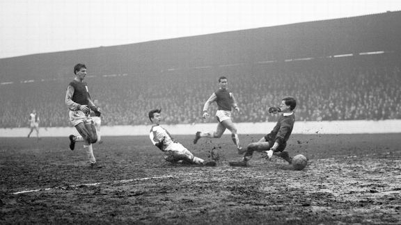 Bryan Douglas scores Blackburn's second in their thrashing of West Ham United on Boxing Day of 1963.