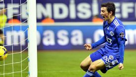 Andre Castro celebrates as Kasimpasa find the back of the net in the win over Besiktas.