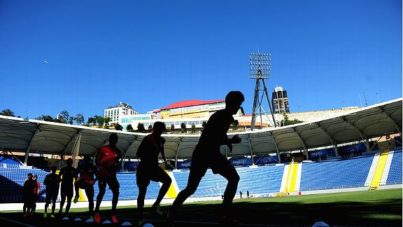 Players are put through their paces at Kasimpasa's Recep Tayyip Erdogan stadium.
