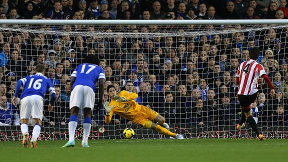 Tim howard brings down Ki Everton vs. Sunderland