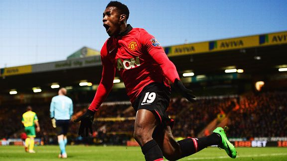 Danny Welbeck celebrates after giving Man United the lead at Norwich.