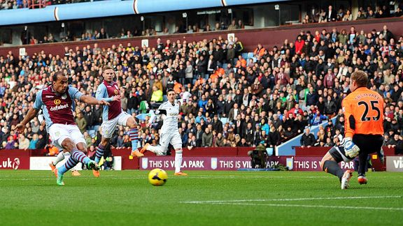 Gabriel Agbonlahor fires Aston Villa in front at home to Swansea.